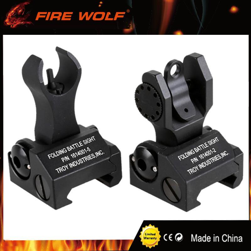 2017 New Metal TROY Industries Folding Battle Sight Front and Rear Sights COMBO Back-up Sight for hunting