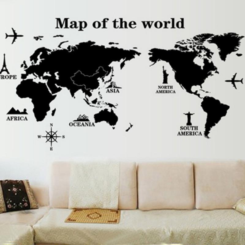 Map World Wall Stickers Living Room Art Decal Removeable Wallpaper ...