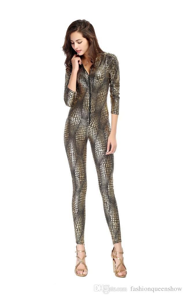 3 Couleurs Nouveauté Snakeskin Costume Dames Sexy Faux En Cuir Catsuit Jeu Cosplay Gothique Zipper Up Jumpsuit Fille Discothèque Dancing Clothes