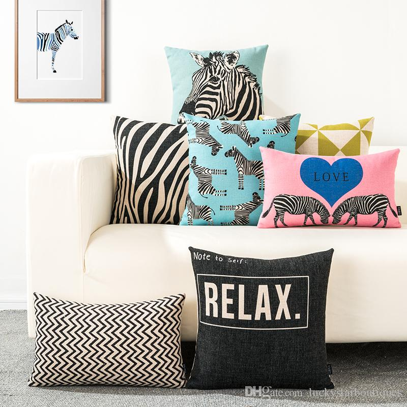 Zebra Pattern Grass Green Triangle White Black Background Relax Waves  Office Decoration Chair Cushions Sofa Cotton Linen Throw Pillows Cover  Sunbrella ...