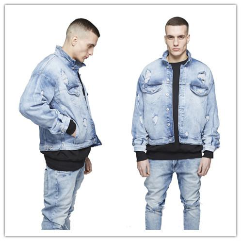 Kanye West Mens Oversized Distressed Denim Jackets Streetwear Kanyye