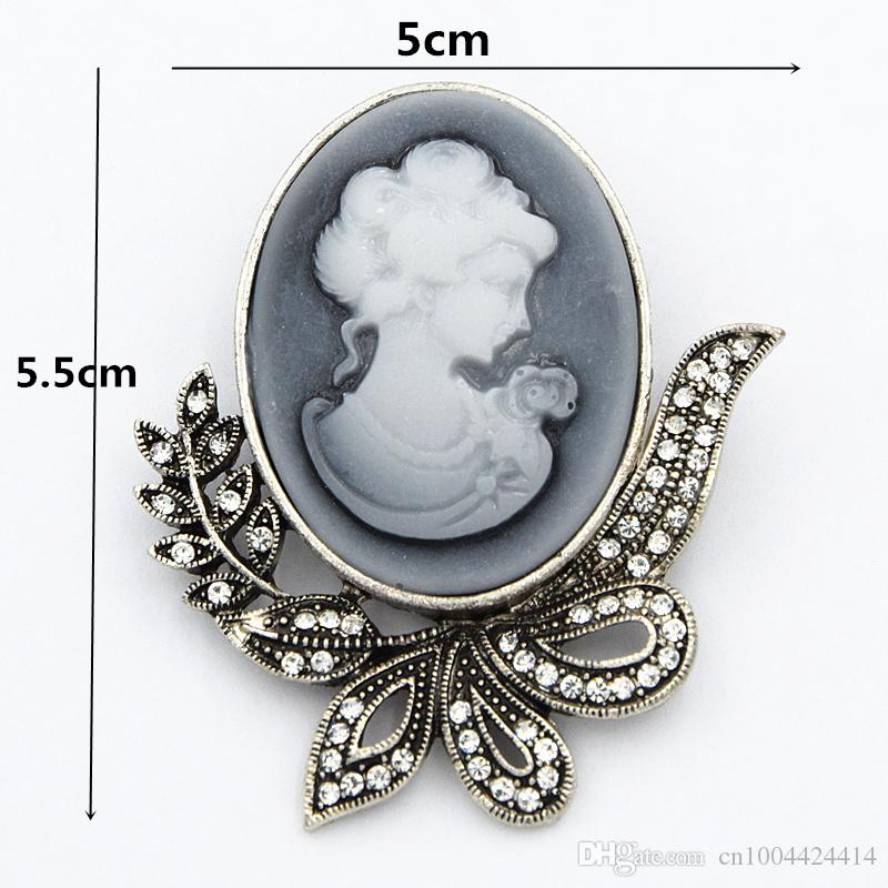 Hot Selling Special Gift Vintage Brooch Pins Pretty Lady Head Cameo Women Hijab Pins Brooches Exquisite Bouquet Pins