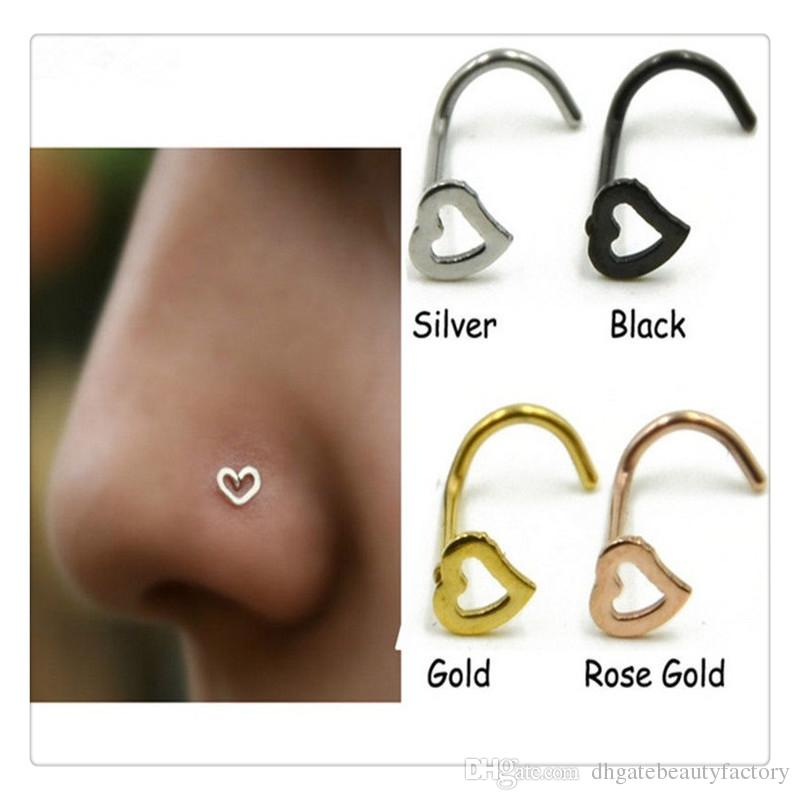 Fashion Body Jewelry Heart Nostril Nose Rings Screw Studs Body Piercing Jewelry Christmas Gift