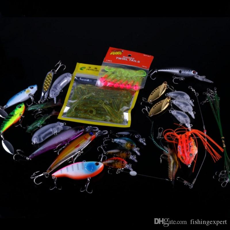 Simulated Fishing Lures Suits Lifelike Shrimp Soft Baits Jigging Heads Hooks Minnow and Frog Lure of 436g Outdoor Fishing Tackle Sets