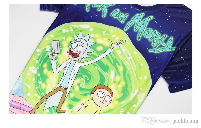 Anime Rick y Morty camiseta 3D patrón de impresión poliéster spandex manga corta O-cuello camisetas Tops para hombres y mujeres