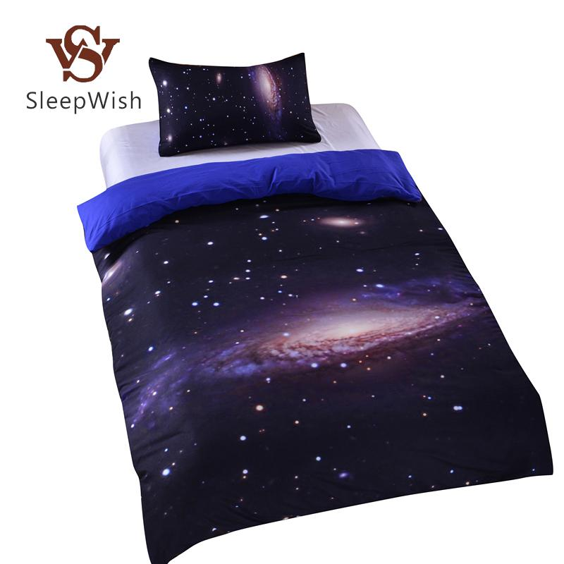 wholesale hipster galaxy bedding set universe outer space themed galaxy print bedlinen sheets twin single double full cheap hot comforters set duvet sets - Galaxy Bedding Set