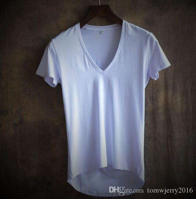 Лето новое прибытие мужская глубокий V воротник с короткими рукавами футболки мужской мягкая нерегулярные длина тонкий простые топы 4XL S M L XL 2XL 3XL