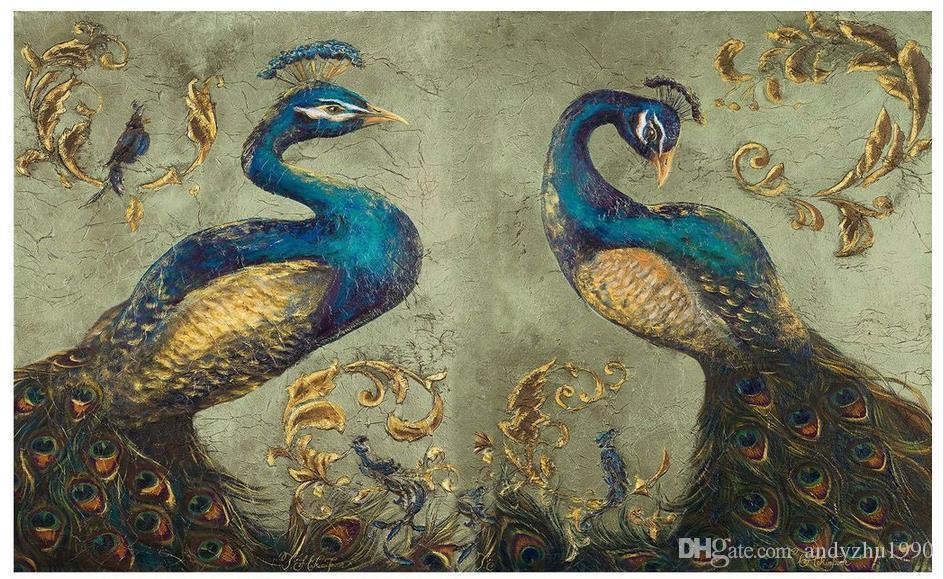 3D photo wallpaper custom size mural non-woven wall Peacock painting TV wall room decoration mural 3D Mural wallpaper