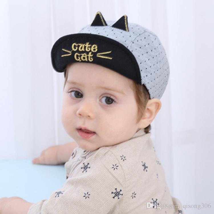 2018 Korean Baby Summer Fashion Hairstyle Sun Hat Boy And Girl Cotton Embroidery Cartoon Kittens Baseball Cap Beanies From Qisong306 3619