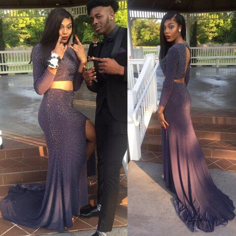 2017 Hot Two Pieces Prom Dresses Black Girls Couple Fashion Sheath