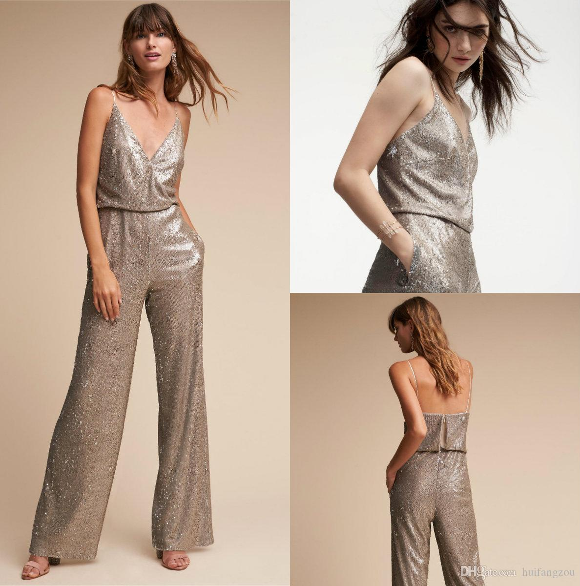 7d754c39fd1f New Fashion BHLDN Shiny Jumpsuit Cheap For Women Formal Occasion Grey  Sequined Sparkling Spaghetti V Neck Custom Made Outfit Bridal Shops  Weddings From ...