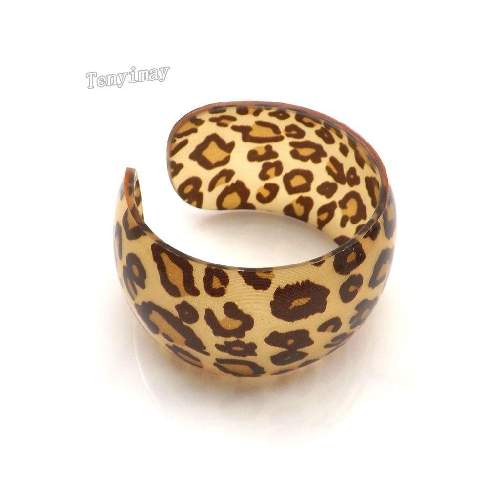 Акриловые браслет мода смешанный цвет леопарда печатных открыл широкий браслет для продвижения Оптовая 24 шт. / лот Бесплатная доставка