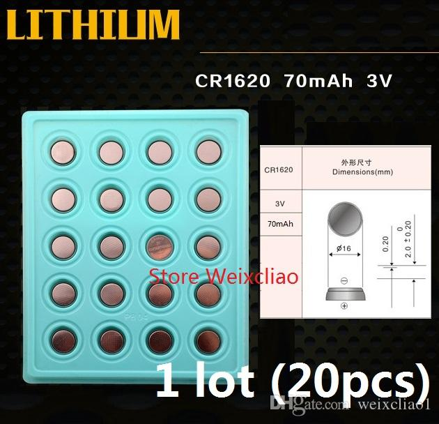 1 CR1620 3V lithium li ion button cell battery CR 1620 3 Volt li-ion coin batteries tray package