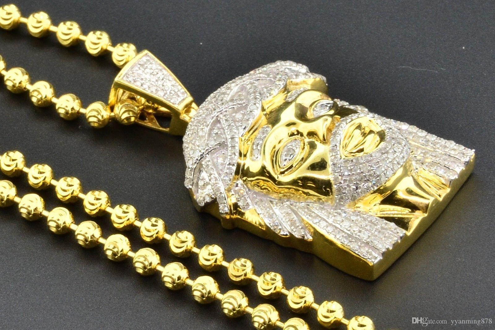 Wholesale diamond mini jesus face pendant piece 925 yellow finish 1 wholesale diamond mini jesus face pendant piece 925 yellow finish 1 ct charm chain set gold chains for men name pendant necklace from yyanming878 aloadofball Image collections