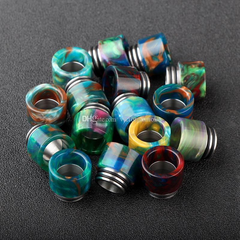Nueva venta caliente DHL libre TFV8 Puntas de goteo Resina epoxi Puntas de goteo para SMOK TFV8 Bonito patrón de resina puntas de goteo 510 Boquilla para TFV8 Atomizador
