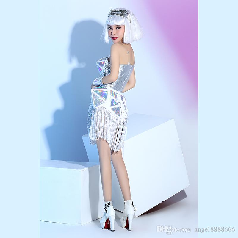New nightclub bar female stage costumes white leather sequins tassels top skirt sets DJ DS singer lead dance performance stage wear
