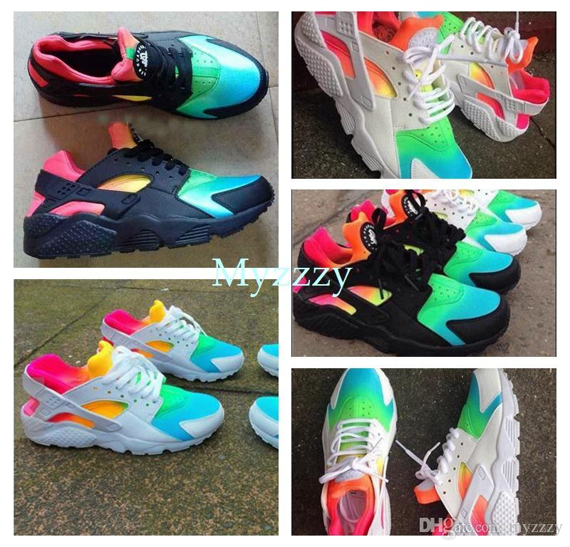 size 40 c01af f940d New Air Huarache Rainbow Sky Blue Running Shoes For Men And Women Huaraches  Ultra Shoes Multicolor Black Huarache White Sneakers Size 36 45 Shoe Sale  ...