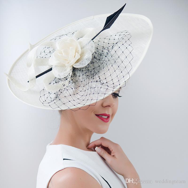 Женщины Кентукки Дерби Шляпы Цветок Батист Свадебная Шляпа Широкими Полями 3 Цвета Свадебные Головные Уборы Мода Глава Аксессуары Формальные Шляпы