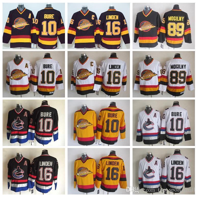 824ae1739 2019 16 Trevor Linden Jersey Men Vancouver Canucks Vintage CCM Hockey  Jerseys 10 Pavel Bure 89 Alexander Mogilny Stitched Black White From  Top sport mall