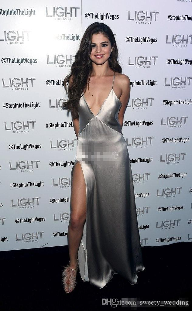Sexy Selena Gomez Red Carpet Celebrity Dresses Deep V Neck Spaghetti Straps High Side Slit Silver Satin Cheap Prom Evening Party Gowns 2017