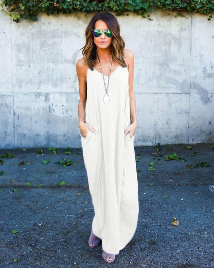 Hugely popular one-piece Maxi dresses Europe and the United States summer women irregular belt collar pocket long skirts