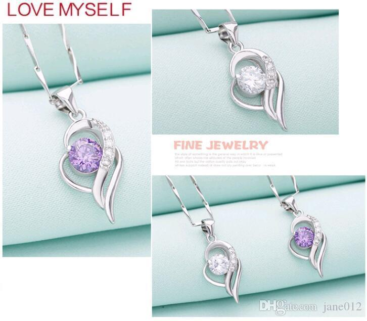 Fine Jewelry Heart Shaped Pendant 925 Solid Sterling Silver Inlay CZ Diamond White Purple Accessories for Necklace Making