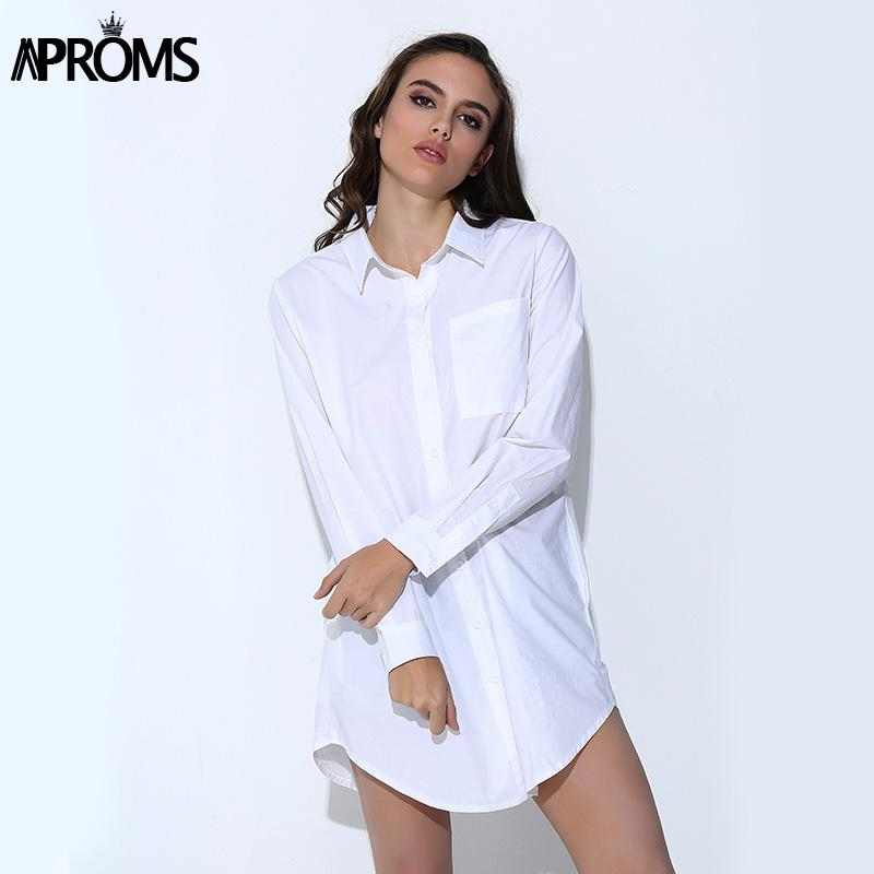 76218a288081a Compre Aproms Moda De La Calle Rayas Blusa Larga Mujer Casual 3 Bolsillos  Suelta Túnica Camisa Blanco Negro Tops Para Las Mujeres Ropa Vestidos A   10.8 Del ...