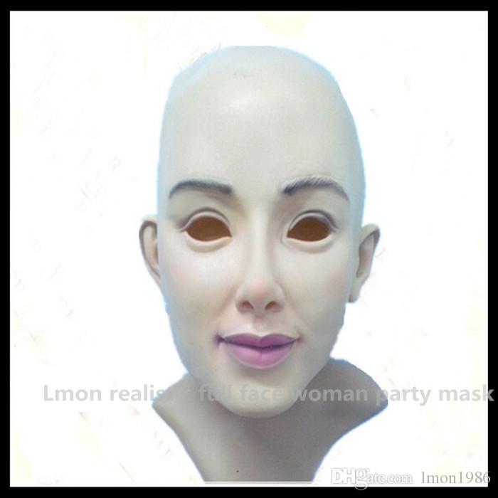 Top Grade 100% Latex Cross Dressing Party Mask Rubber Latex Halloween Female Mask Wholesaler Realistic Female Mask