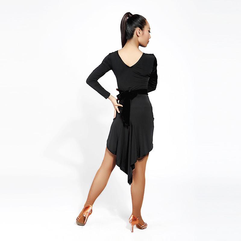 НОВЫЙ черный латинский танец платье для взрослых сексуальный нерегулярный бальный костюм румба саса самба танго латинское платье 001