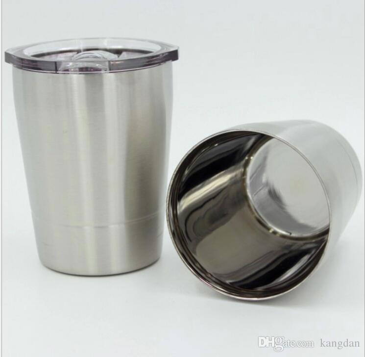 Bicchieri da vino in acciaio inox da 9 once Isolante doppio portatile Bicchiere da birra Bicchiere da vino Succo Caffè Bicchieri tazze tazze da caffè