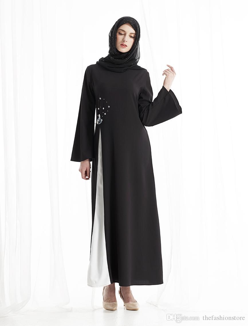new arrival a0155 f94af 2018 Nuovo design elegante abito da donna nero islamico abito nero abito da  sera musulmano vestito nero donne musulmane abito da Kaftan