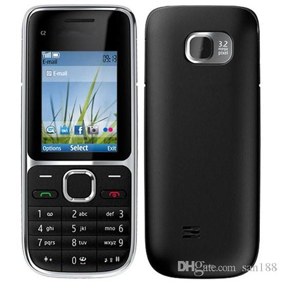 3.2MP bar phone Camera sim card 4 stand by 2 inch C2-01 cell phone with bluetooth camera FM radio with box