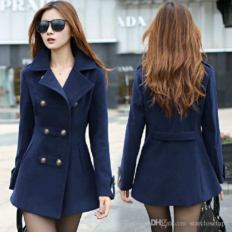 2018 New 2016 Women Winter Wool Coat Women'S Double Breasted Coats ...