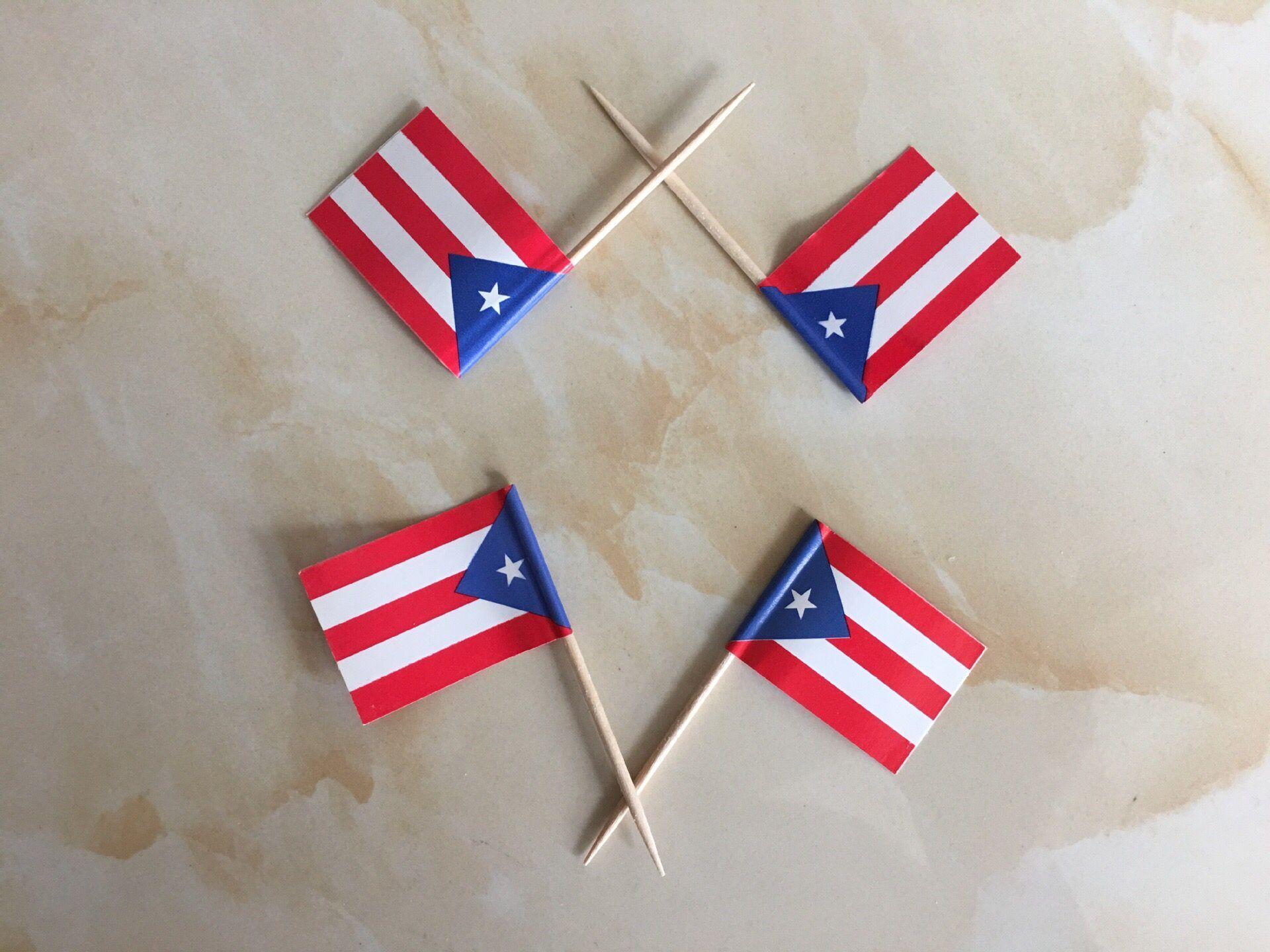 discount mini puerto rico flag paper food picks dinner cake
