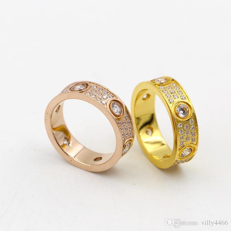 2017 Top Qualité 316L Titanium acier amour anneaux amateurs bande Anneaux Taille pour les Femmes et les Hommes en largeur de 6mm avec trois lignes diamant Bijoux