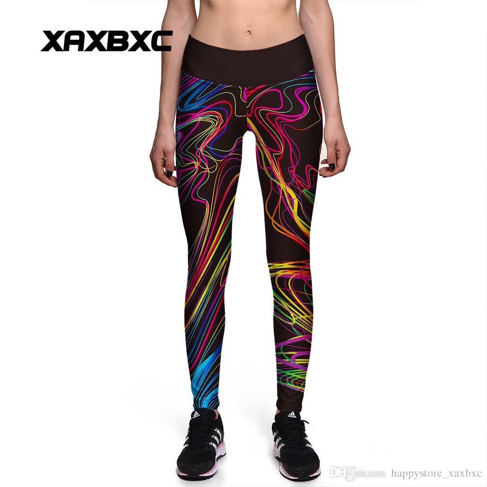 2017 New 0129 Fashion Rainbow Pigment Messed Graffiti Prints Sexy Girl Pencil Yoga Pants GYM Fitness Workout High Waist Women Leggings