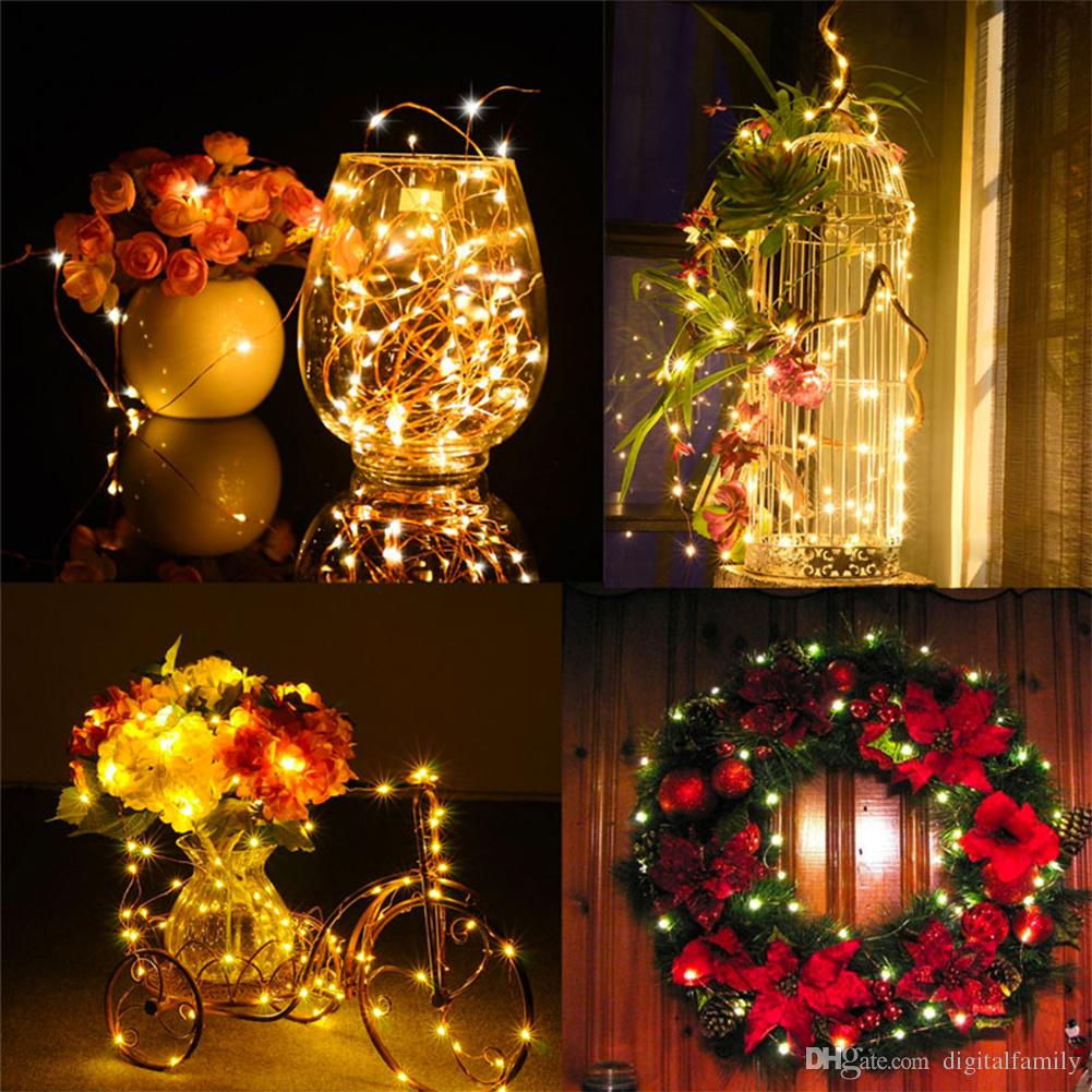 10M 100led 3AA Battery Powered Outdoor LED Silver Wire Copper Wire Fairy String Lights Christmas Wedding Party Decorations garland Lighting