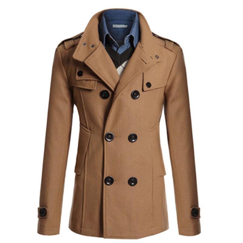 Compre Venda Por Atacado Venda Quente Trench Coat Men Double Breasted  Estilo Britânico Cashmere Mens Trench Coats Casaco De Lã De Alta Qualidade  Longo ... 73e63d2fed6