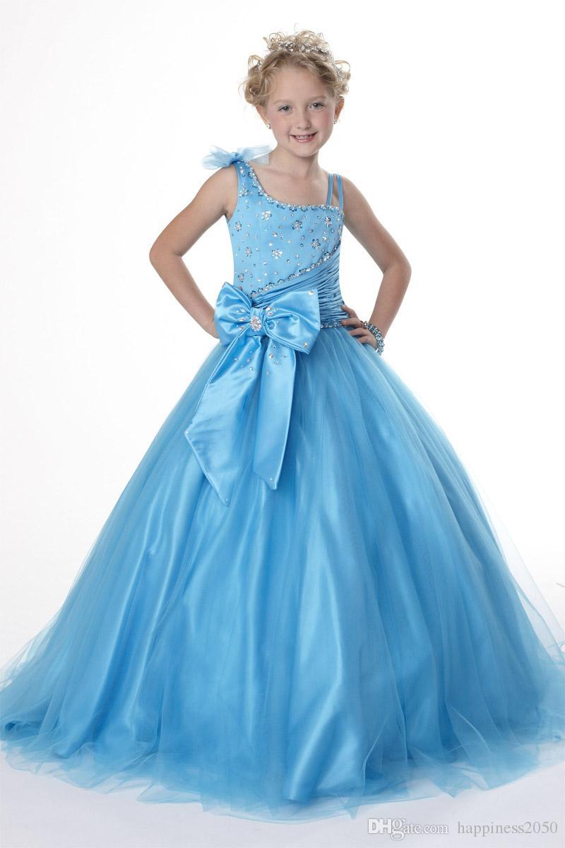 Precioso turquesa Tulle Bow Straps Beads Vestido de niña de las flores Vestidos del desfile de la princesa Vestidos de fiesta de la muchacha Tamaño por encargo 2-14 HF419001