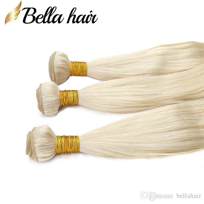 Peruanska Virgin Human Hair Extensions 613 Blont Hår Buntar Straight Weaves Hårväft Dubbel Weft / Top Grade Bellahair