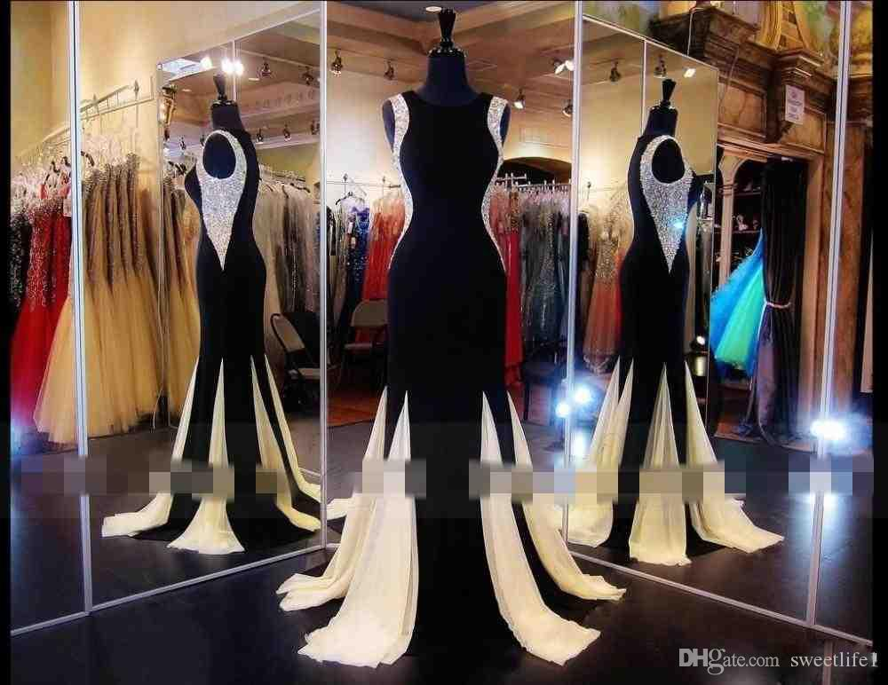 Giltter Black Evening Dresses Long Prom Gowns Mermaid Jewel Crystal Beaded Formal Pageant Gowns Floor-Length Party Dress Dubai