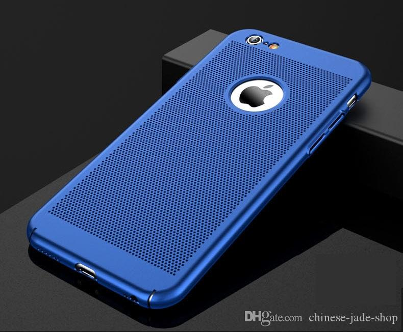 Cubierta completa mate delgada PC duro caso de malla para iPhone x 8 5 6 6S PLUS 7 8 Plus cuadrícula Hollow Out Shell 100