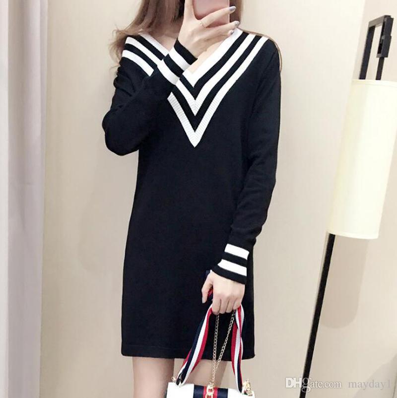 Mulheres da moda blusas Outono Inverno Camisola de Manga Longa Vestido V neck Contraste Cor Listrado De Malha vestido frete grátis
