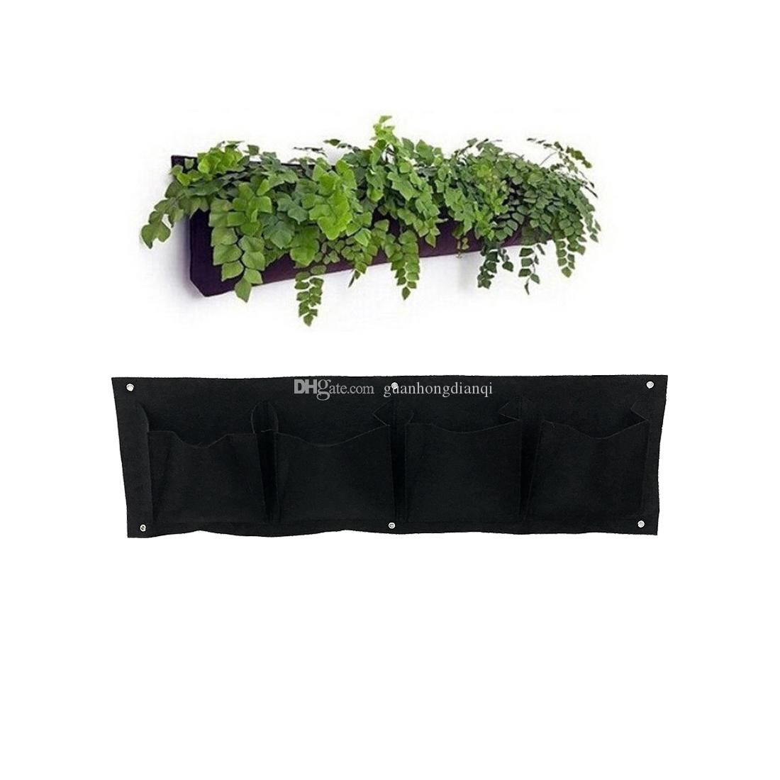 2018 4 Pockets 4 Pack Horizontal Outdoor Indoor Wall Mounted Planter Bag  Garden Living Wall Hanging Planting Grow Pots Plant Bags From  Guanhongdianqi, ...