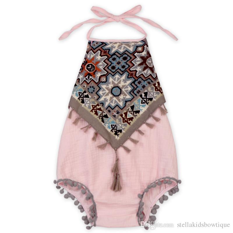 fd22d1318 Vintage Baby Girls Bodysuit New Halter Tassel Baby Clothes Rustic Summer  Baby Girls Playsuit Tassel Toddler Girls Clothing