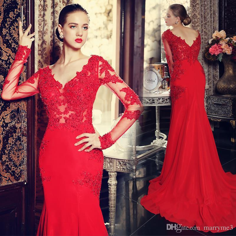 Wine Red Prom Dresses Party Dresses Long Sleeve Evening Dress with ...