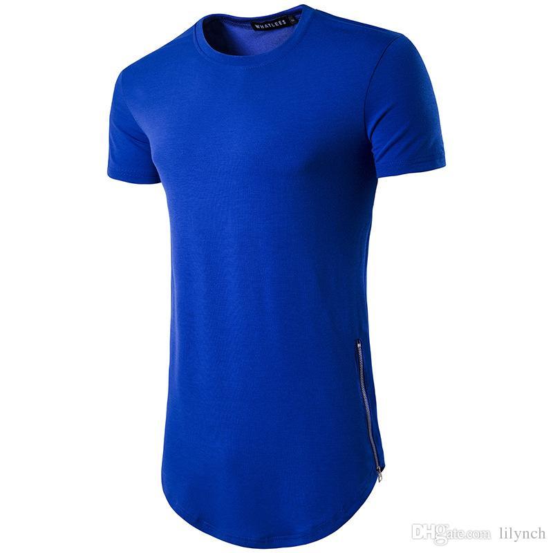 Nuevas tendencias para hombres Camisetas Super largas de manga larga Camiseta Hip Hop Arco dobladillo con dobladillo curvo Lateral Zip Tops camiseta