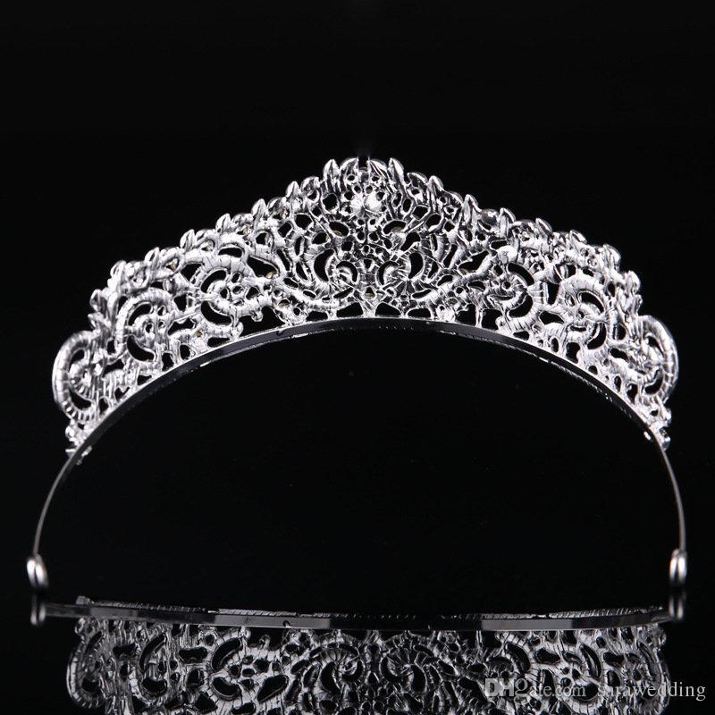 패션 높은 품질 절묘 한 크리스탈 신부 크라운 2019 여성 미인 대회 파티 Tiaras 머리 보석 액세서리 머리 장식
