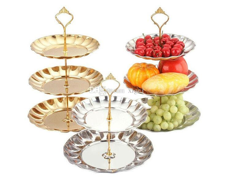 two three plate gold/silver Dessert plate decorative plate fruit cake decorating tools