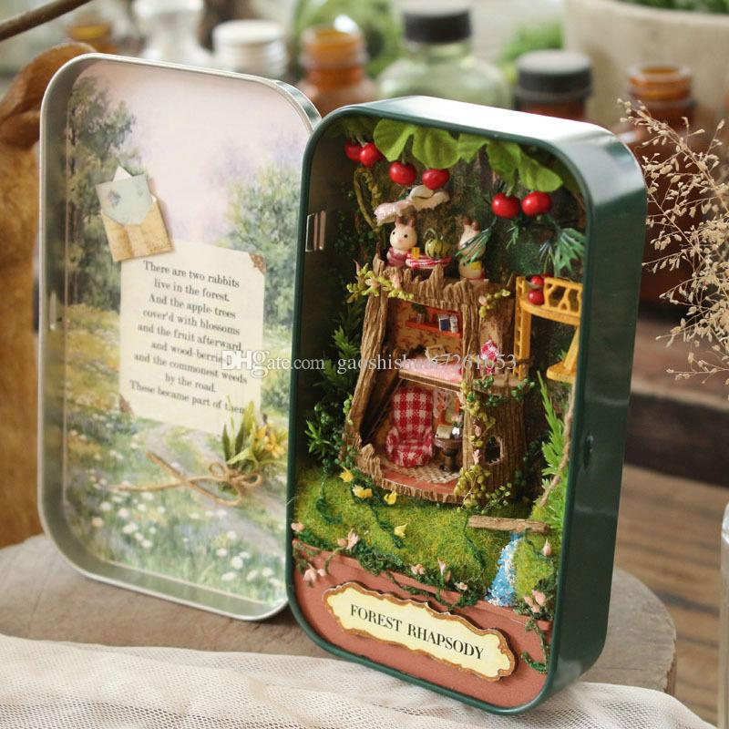 Großhandel Diy Mini Puppe Haus Miniatur 3d Theater Tin Box Möbel ...